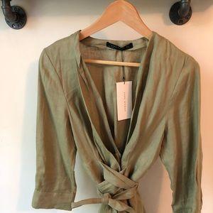 Zara Tops - Green Tunic Wrap Shirt
